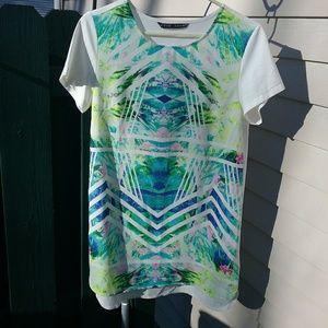 ZARA Basic Tropical Print Tunic Blouse